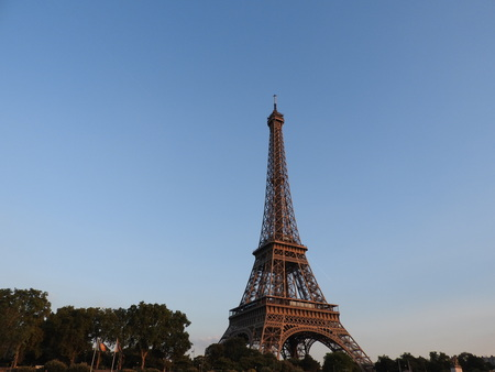 Photo for Eiffel tower close view of the structure in Paris, France. - Royalty Free Image