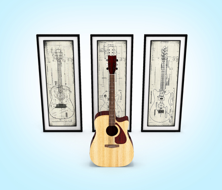 Acoustic guitar with with guitar pictures on blue gradient background 3d