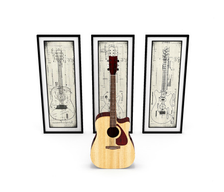 Acoustic guitar with with guitar pictures on white background 3d