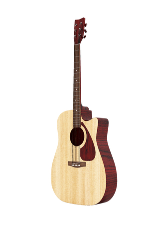 Acoustic guitar without shadow on white background 3d