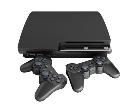black game console with joysticks isolated on white background without shadow 3d render