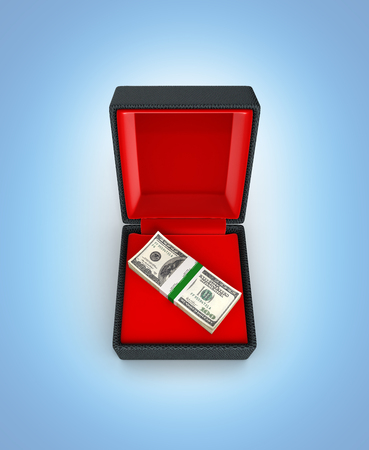 Stack of money american hundred dollar bills in gift box with red material isolated on blue gradient background 3d