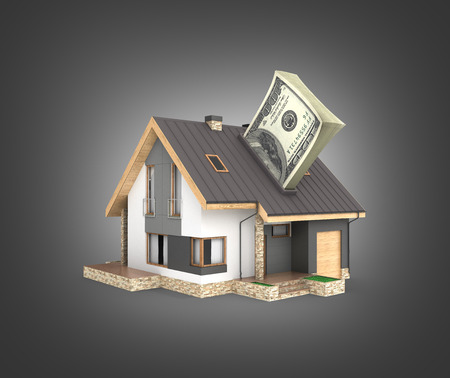 Concept of purchase or payment for housing House with a stack of money american hundred dollar bills isolated on black gradient background 3d