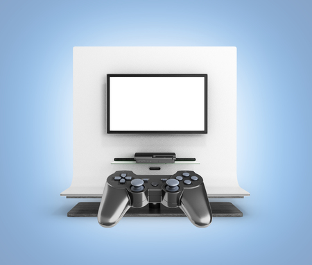 Multiplayer game on the console concept  Illustration of two joysticks on TV background 3d render
