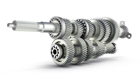 Photo pour Automotive transmission gearbox Gears inside on white background 3d render - image libre de droit