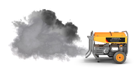 Photo for Ecology concept Illustration of pollution by exhaust gases Portable gasoline generator producing a lot of smoke isolated on a white background 3d render - Royalty Free Image