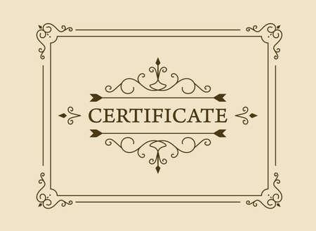 Illustration pour vintage certificate. certificate or coupon template with detailed border. - image libre de droit