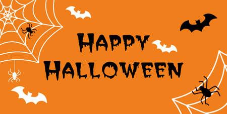 Illustration pour Happy Halloween hand drawn doodle lettering label art banner poster template - image libre de droit