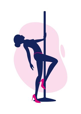 Ilustración de Vector silhouette of sexy girl pole dance and flirt dance. Isolated on white background. - Imagen libre de derechos