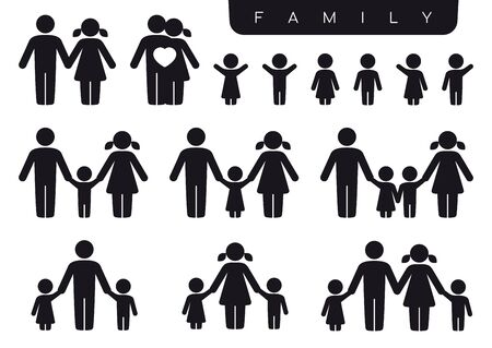 Illustration for Vector black silhouette icon set family. Woman, man, partner, children, son, daughter. Isolated on white background. - Royalty Free Image