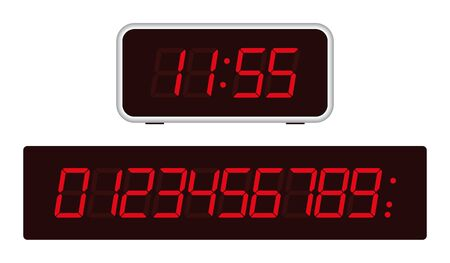 Illustration pour Retro old school digital clock with red numbers. Dark background. - image libre de droit