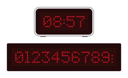 Illustration pour Retro digital clock with red point numbers. Dark background. - image libre de droit
