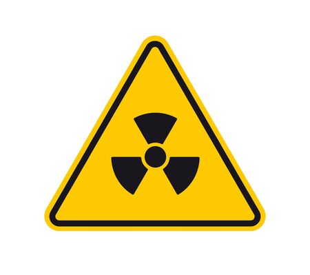 Illustration pour Vector yellow triangle sign - black silhouette radiation. Isolated on white background. - image libre de droit
