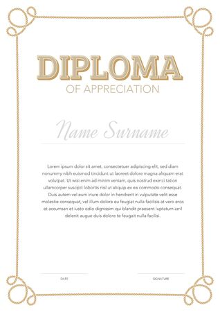 Illustration pour Vertical format certificate template in classical style with rope ornamental frame - image libre de droit