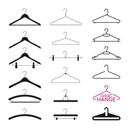 Illustration for Vector set silhouette coat hanger. Isolated on white background - Royalty Free Image
