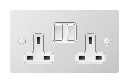 Ilustración de Realistic vector white socket. Electrical outlet in the UK Isolated on white background. - Imagen libre de derechos