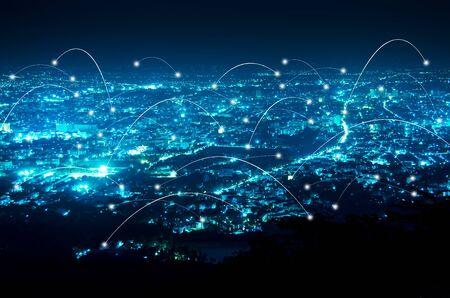 Photo pour abstract line connection on night city background - image libre de droit