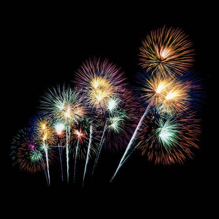 Photo pour fireworks on black background - image libre de droit