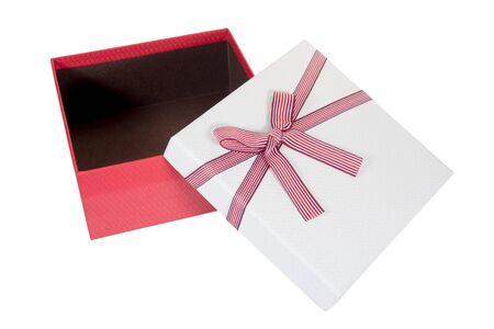 Photo for open red gift box isolated on white background - Royalty Free Image