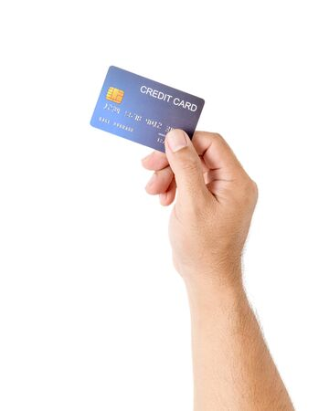 Photo pour Hand man holding credit card isolated on white, business and money for shopping online, new normal concept - image libre de droit