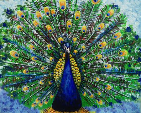 Foto de Art painting Oil color backgrounds for design peacock from thailand - Imagen libre de derechos
