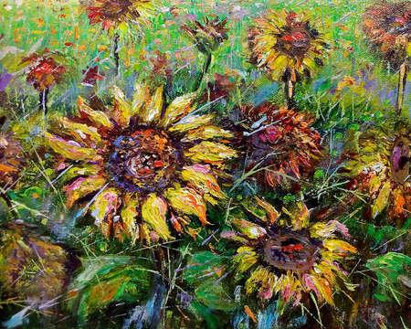 Foto de Art painting Oil color Sunflower - Imagen libre de derechos