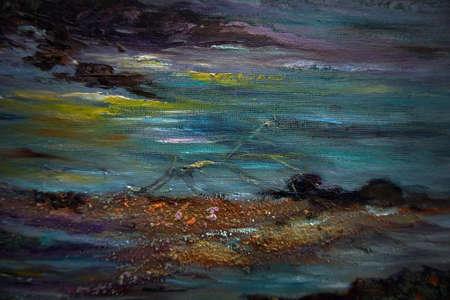 Foto de Art oil painting wave sea , abstract , design , background from thailand - Imagen libre de derechos