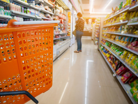 Photo for empty basket on shopping cart in supermarket or convenience store - Royalty Free Image
