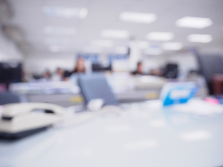Office Blurred Background With People Working At Desk Royalty