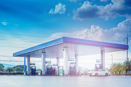 Photo for Gas fuel station with clouds and blue sky - Royalty Free Image