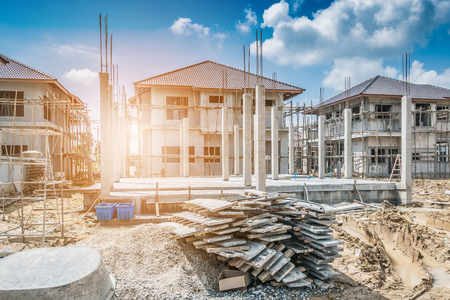 Photo pour New House construction in building site - image libre de droit