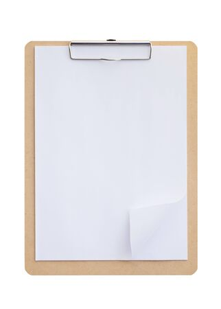 Photo pour Wooden clipboard with blank paper isolated on white background - image libre de droit