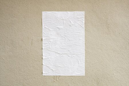 Photo for Blank white crumpled and creased adhesive street poster mockup on concrete wall background - Royalty Free Image