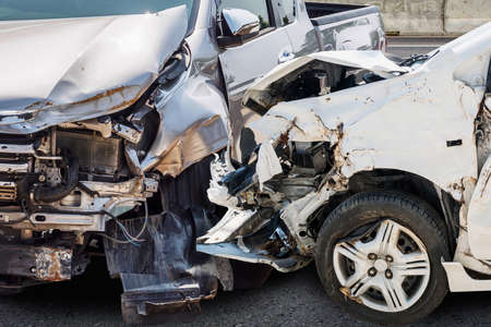 Photo for car crash damaged from accident on the road - Royalty Free Image