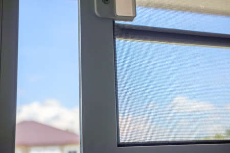 Photo pour Open mosquito net wire screen on house window protection against insect - image libre de droit