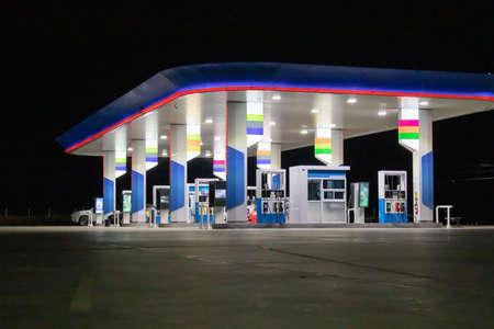 Photo for Petrol gas station at night - Royalty Free Image