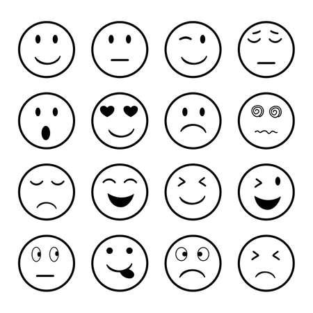 Illustration for Set of Emoji icon  on white background. - Royalty Free Image