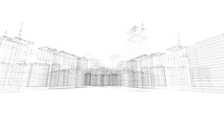 Photo pour Abstract 3d city rendering with lines and digital elements. Digital skyscrapers with wire texture. Technology and connection concept. Perspective architecture background with wireframe skyscrapers. - image libre de droit