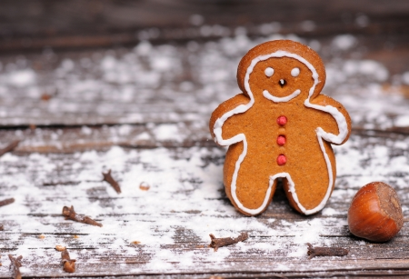 homemade christmas cookies on wooden background