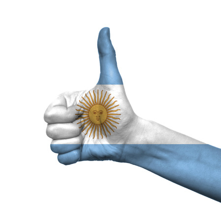 Argentina flag painted on hand over white background