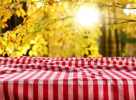 Photo pour Empty checkered table background - image libre de droit