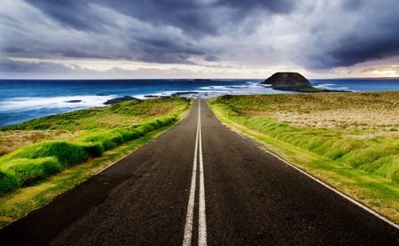 Road leads to a beautiful coastline