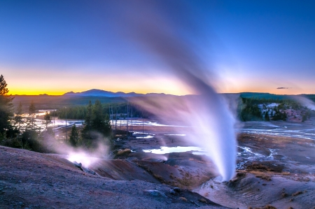 Beautiful Vibrant Geysers in Norris Basin Yellowstone after Sunset