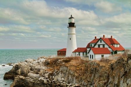 The lighthouse knows as the Portland Headlight is a major landmark in So  Portland, ME