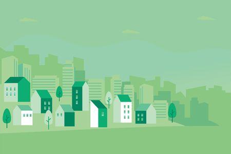Illustration pour Vector illustration of green cityscape - image libre de droit