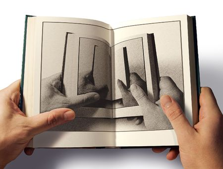 The open book in hand with the image of open book