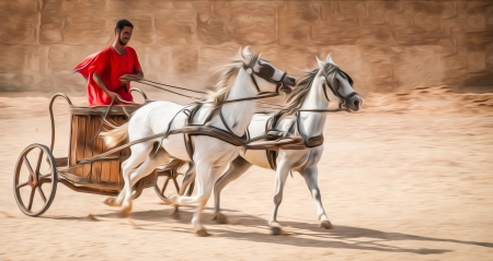 Man in chariot wearing red robe, white horses.