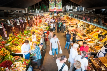 Indoor grocery market in Barcelona, Spain. People walking and buying food. Huge variety of fruits, vegetables and spices. Colourful organic and healthy products. Famous local place in Europe.