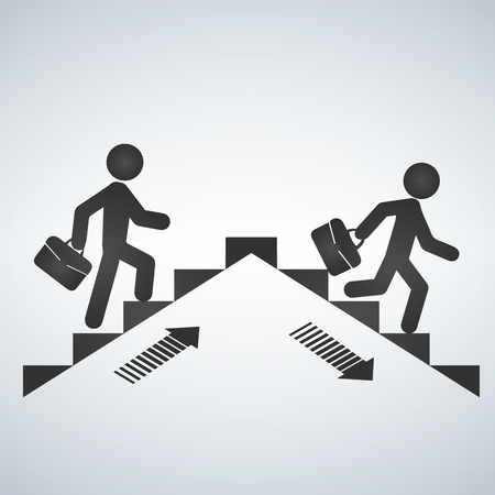 Ilustración de Man going up the stairs, man going down staircase symbol. Vector illustration - Imagen libre de derechos