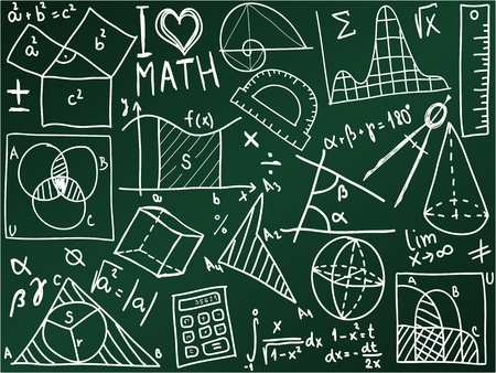 Mathematics icons and formulas on the school board - illustration